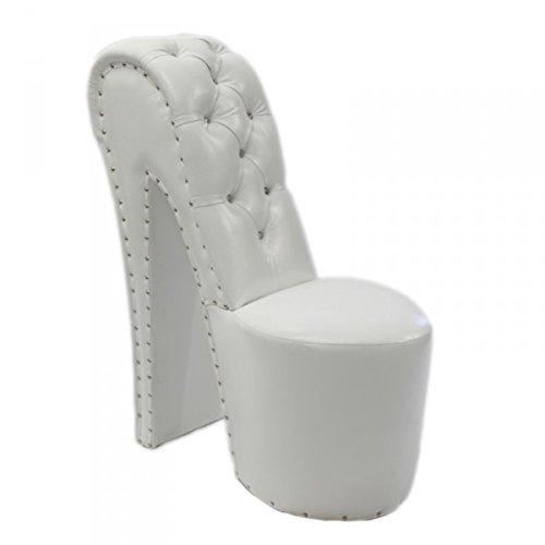 Casa Padrino Moderner und sehr eleganter High Heel Sessel mit Dekosteinen Weiß Design - Designer Sessel - Club Möbel