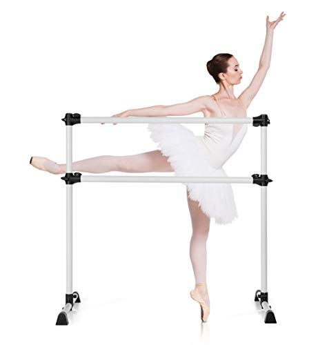 DREAMADE Ballettstange Höhenverstellbar, Ballet Bar aus Eisen, Stretchleiter Freistehend, Ballett Barre für Professionelle Tanz- und Bewegungstraining, für Kinder & Erwachsene (Silber)