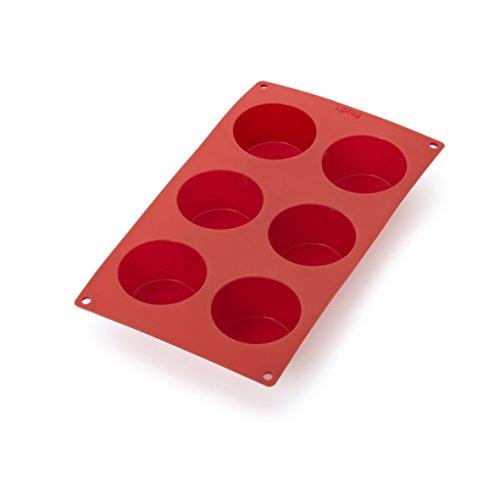 Lékué Multicavidad Muffins Rojo Molde Repostería, Silicona, 6 cavidades
