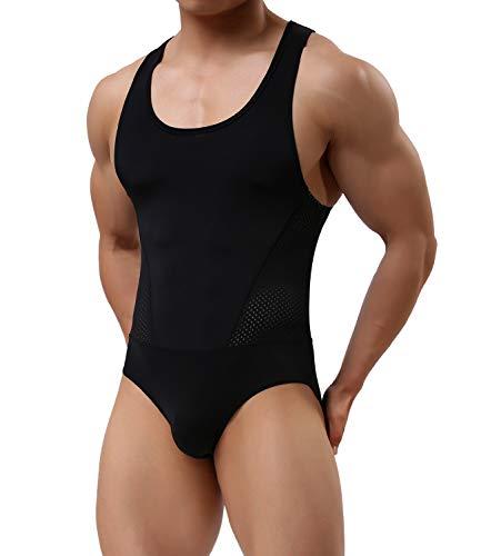 Arjen Kroos Herren Body Bodysuit Unterwäsche Stringbody Unterhemd Body Kompression Singlet Sportwear, Schwarz, Gr.- XL(89-96cm)