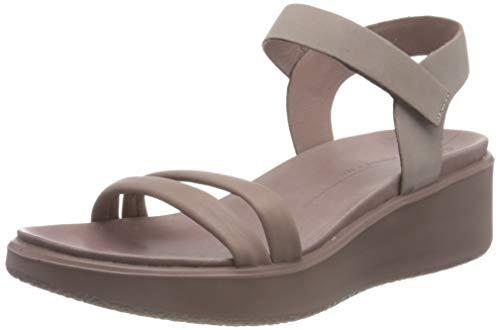 ECCO Women's FLowt Luxery Wedge Ankle Strap Sandal, Wood Rose Nubuck, 9-9.5