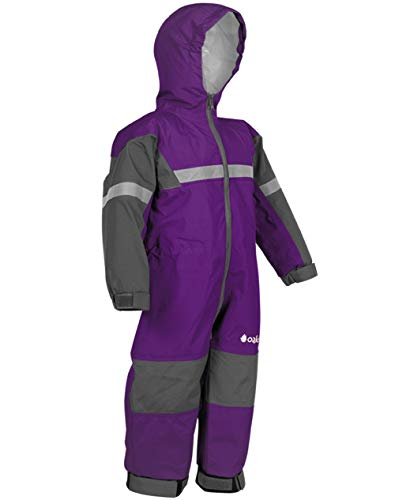 OAKI Rain & Trail Suit - Kid &Toddler - Girl & Boy One Piece Rain Jacket & Pant Deep Purple