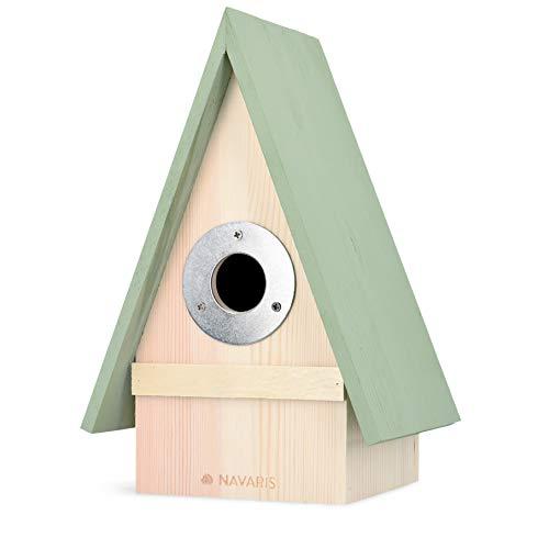 Navaris Casita para pájaros de Madera - Casa de Exterior con Gancho para Colgar para Aves pequeñas - Caseta pajarera Colgante de 23.5 x 15 x 12 CM