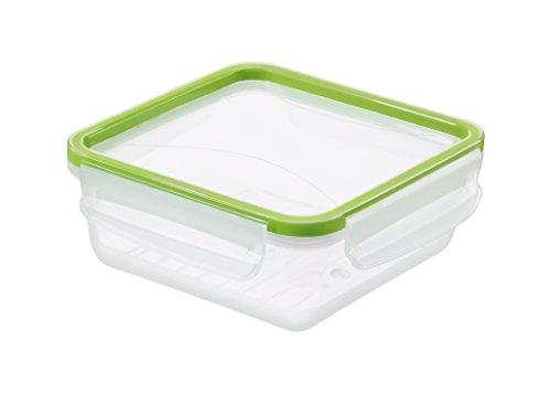 Rotho Clic and Lock Frischhaltedose, Kunststoff (BPA-frei), transparent / grün, 0.8 Liter (16,1 x 16,1 x 6,1 cm)