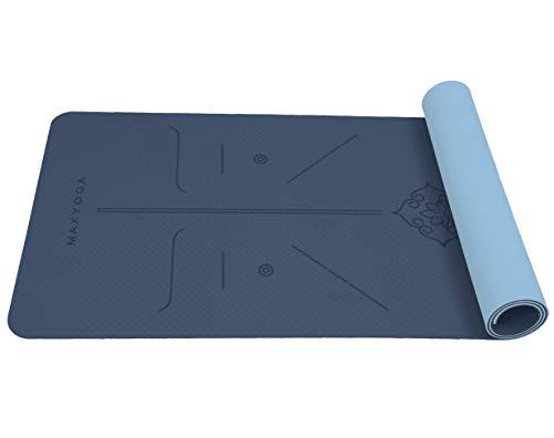 MAXYOGA® MaxDirect Esterilla Yoga con Sistema de Alineación y Marcados. Colchoneta Yoga Mat Antideslizante y Ligera de Material Ecológico TPE. Tamaño Ideal 183cm x 61cm x 6mm. - Azul