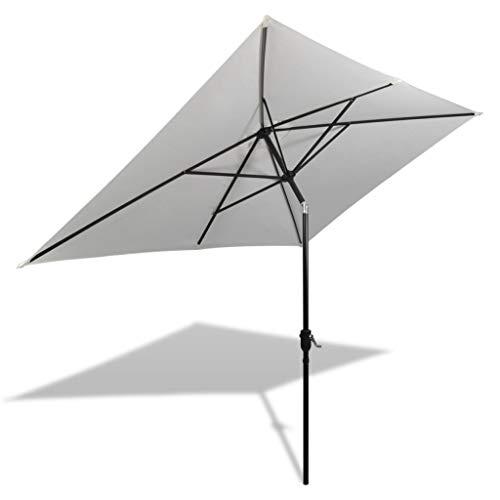 vidaXL Sonnenschirm 200x300cm Sandweiß Strandschirm Ampelschirm Gartenschirm