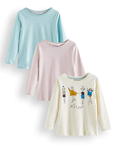 Marca Amazon - RED WAGON Camisa Manga Larga Niñas, Pack de 3, Multicolor (Cream, Lilac And Blue), 110, Label:5 Years