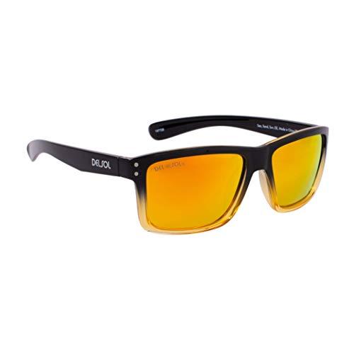 Del Sol DelSol Solize Sea Sand Sun - Cambia de color de negro y transparente a amarillo para unisex, lentes polarizadas Pro, lentes espejadas, protección 100% UVA/UVB - 1 pieza de gafas