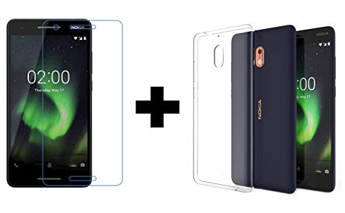 Prime Retail Nokia 2.1, Tempered Glass & Back Cover, [Combo Transparent] Premium Real 2.5d 9H Anti-Fingerprints & Oil Stains Coating Hardness Screen Protector Guard for Nokia 2.1