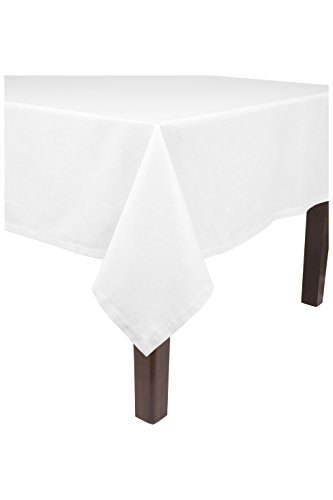 """KAF Home Banquet Tablecloth in White, 90"""" by 156"""", 100% Cotton, Machine Washable"""