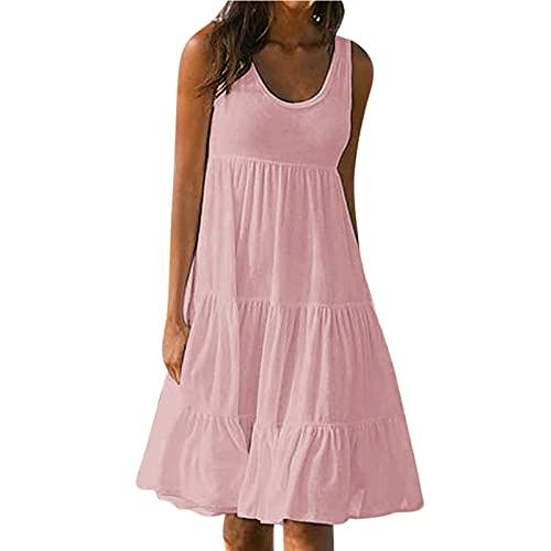 Masrin Sommerkleid für Damen Sommer einfarbiges ärmelloses Strandkleid für den Urlaub Gerüschtes Patchwork-Turmkleid Lockeres Trägerkleid A-Linien Kleid(XXXXL,Pink)