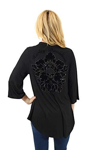 Harley-Davidson Womens Damask Floral Willie G Skull Pom Pom Fringe Cardigan Black 3/4 Sleeve Sweater (S/M)