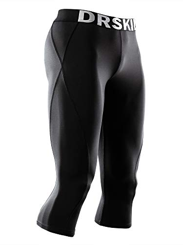 DRSKIN 1~3 Pack Men's 3/4 Compression Tight Pants Base Under Layer Running Shorts Cool Dry (Packs of 1, 2, or 3 Deals) (BB807, 3XL)