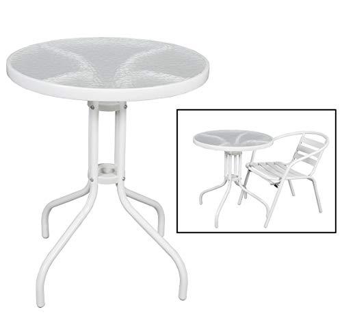 Mesa con Base de Metal Blanca y Cristal Ideal para jardín HOGAR | (Diámetro 60 x 70 cm)