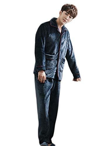 DAFREW Herren Pyjamas, Dicke Winter warme Haus Kleidung, Revers Mode Zweiteilige Pyjama Set (Farbe : H, größe : M)