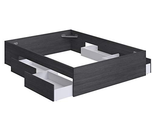 Movian Belaya modernes Doppelbettgestell mit 4 Schubladen, 194,4 x 144,8 x 39,4, Grau