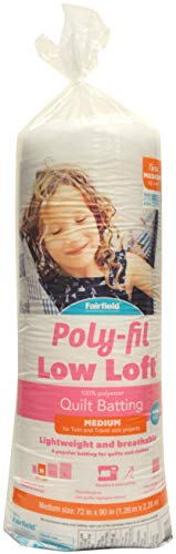 Fairfield 72 by 90-Inch Low-Loft Bonded Polyester Batting, Twin