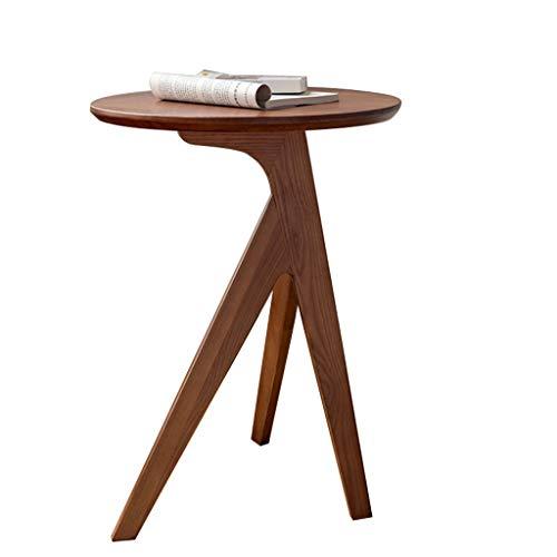 FEANG Couchtische Nordic Massivholz Couchtisch Sofa Side Table Wohnzimmer Balkon Einfacher Runder Tisch Schwarz Walnuss Kleiner Tisch Beistelltische (Color : Walnut)