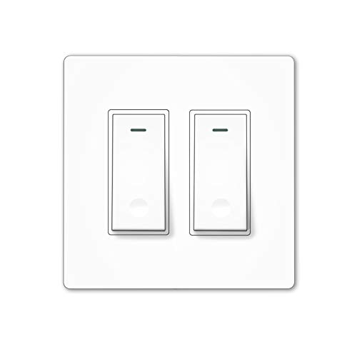 MOES WiFi Smart Light Switch,2 Gang No Screw Panel Smart Life/Tuya App Wireless Remote Control Wall Switch Timer for Lights,Compatible with Alexa,Google Home,No Hub required