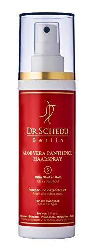 Dr. Schedu Berlin Aloe Vera Panthenol Haarspray, vegan, frei von Silikonen, Mineralölen, Parabenen und Sulfaten, ohne Treibgase, 200 ml. (Ultra starker Halt)