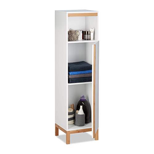 Relaxdays Badezimmerschrank, schmaler Badschrank, 3 Fächer, Bambus & MDF, Midischrank HBT 119 x 32 x 30 cm, weiß/Natur
