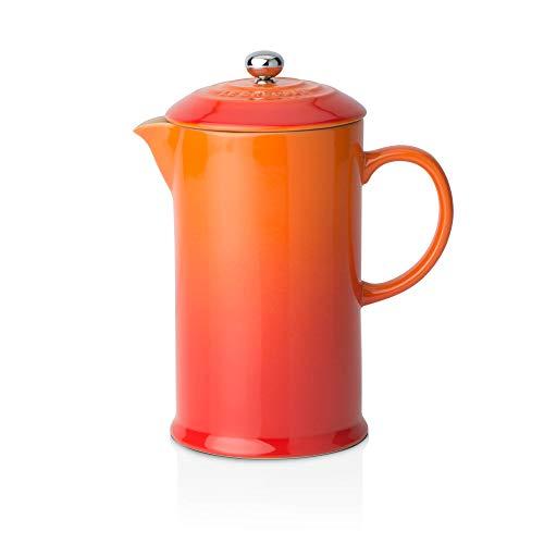 Le Creuset Cafetera Francesa con Prensa de Acero Inoxidable, Cerámica de gres, Naranja(Volcánico), 800 ml
