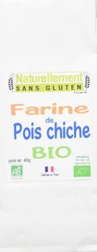 NATURELLEMENT SANS GLUTEN Farine de Pois Chiche Bio 400 g - Lot de 4