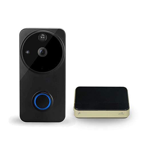 Draadloze deurbel met video-deurintercom met HD 720 met draadloze deurbel, draadloos, WLAN-bel, ontvangst, nachtzicht groothoek, 166 ° Zwart