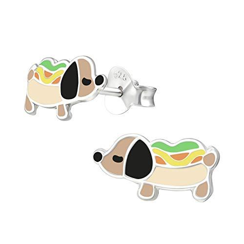 Monkimau Pendientes de tuerca con diseño de perro salchicha en plata de ley 925