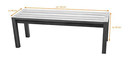SAM® Teak-Holz Gartenbank, massive Sitzmöglichkeit für bis zu 2 Personen, ideal für Garten Terrasse Balkon oder Wintergarten, ca. 120 x 45 cm [521213] - 2