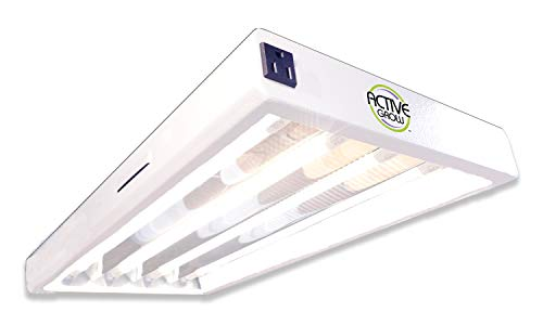 Active Grow T5 High Output LED Grow Light Fixture for Indoor Gardens, Hydroponics & Vertical Racks - Contains 4 x 12W (24W Rep.) T5 HO 2FT LED Tubes - Sun White Full Spectrum (High CRI 95)