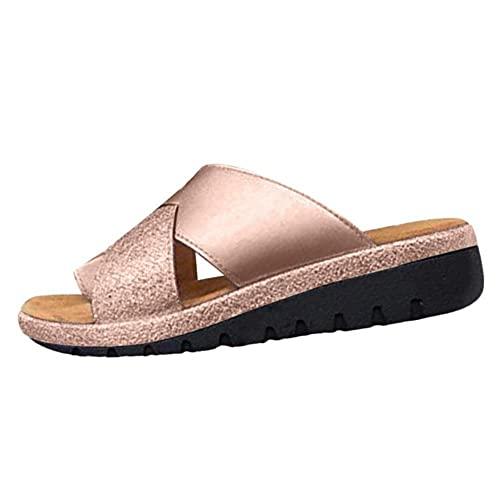 WoJogom Plus Size Damen Sandalen Sommer Quaste Einfarbig Flip Flops Flip Flops Champagner