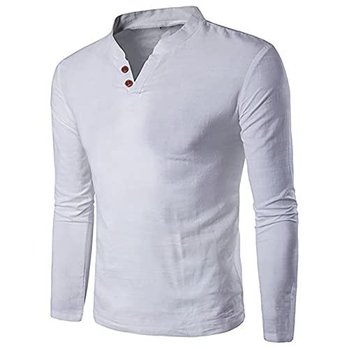 El algodón de los Hombres de Verano de los Hombres y el Lino se Levanta el Color del Cuello