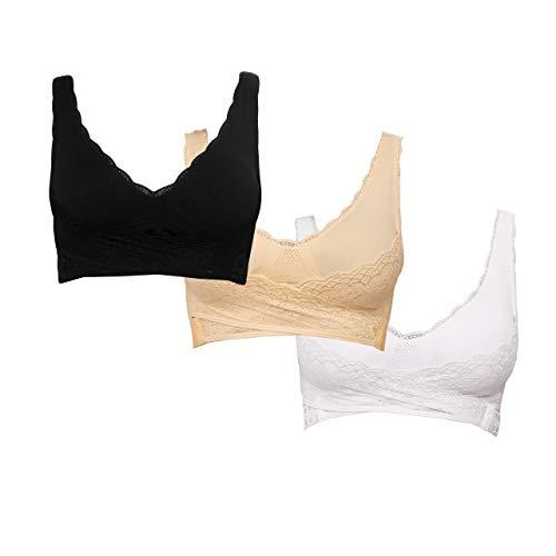 Genius Cara Mia BH-Set Bra Bralette ohne Bügel (3 Teile) für Damen Frauen Größe XL in Schwarz, Weiß und Nude - Unterwäsche mit perfektem Halt ohne Abdrücke
