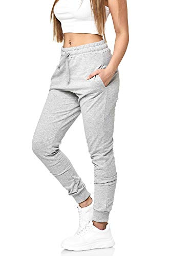 Damen Jogginghose Frauen Trainingshose Sporthose Hose Schwarz Weiss Mehrfarbig Sweatpants 5000 (Grau, XL)