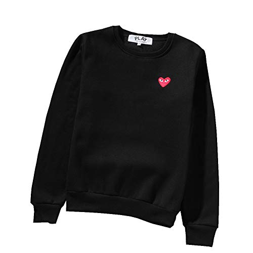 yur67 CDG Play Heart Print Sweater Round Neck Couple Black Sweater Hoodie for Men/Women