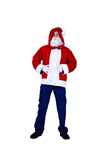 RG Costumes Men's Santa Claus Hoodie, Red/White, Large