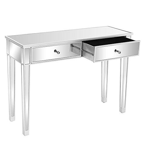 Bonnlo Mirrored Console Table with 2 Drawers Silver Desk