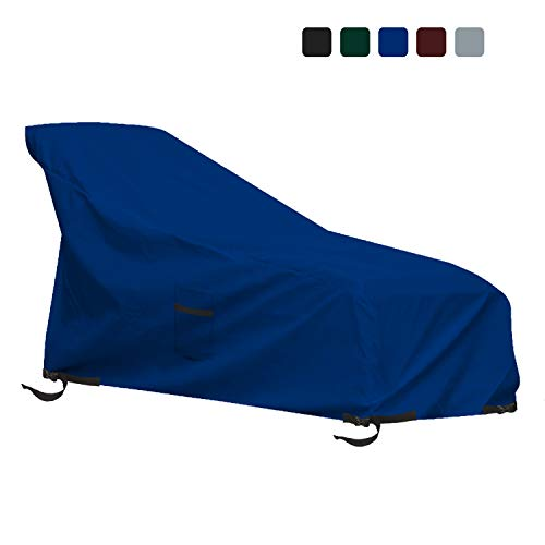 Patio Chaise Lounge Cover 12 Oz Waterproof - 100% UV & Weather Resistant 1000 D PVC Coated Outdoor Furniture Chaise Covers with Air Vents and Drawstring for Snug fit (66W x 28D x 30H, Blue)