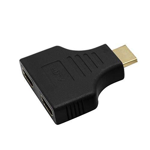 Porte HDMI 1080P colorate da maschio a 2 femmina Convertitore adattatore splitter 1 in 2 out per TV/Nero