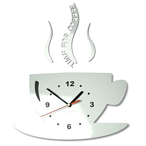 FLEXISTYLE Tasse Time for Coffee (Zeit für Kaffee) Moderne Küche Wanduhr weiß, 3D römisch, wanduhr deko