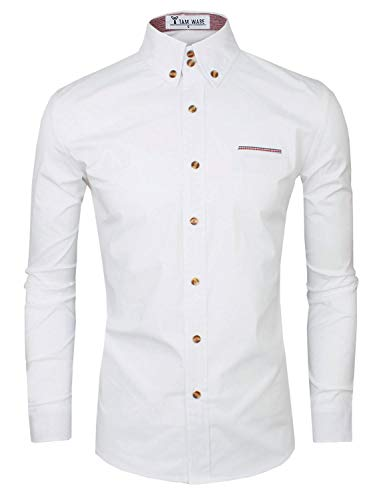 Tom's Ware Mens Premium Casual Inner Contrast Dress Shirt TWNMS315S-WHITE-US L