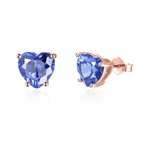 Ohrringe Herz Ohrstecker mit blauem Tansanit Stein 925 Sterling Silber mit Rhodium oder Rosegold Veredelung inkl. 2x Ersatzverschluss