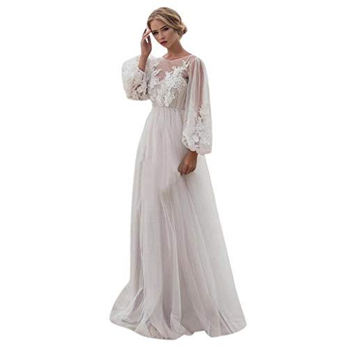 MAYOGO Spitzen Tüllkleid Brautkleid Langarm Maxikleider Cocktailkleid Abendkleider für Hochzeit Hochzeitskleider Standesamtkleid