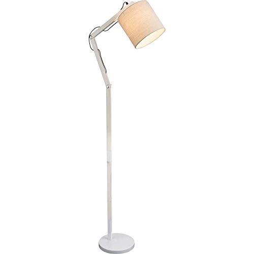 GLOBO LIGHTING vloerlamp metaal wit – hoogte 160 cm – lampenkap beige