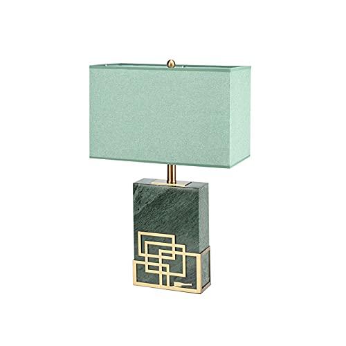 YHshop Lámpara de Mesa Nueva lámpara de Mesa de mármol Indio Natural Moderna para la Sala de Estar del Dormitorio con la Tela de la Tela de rectángulo Verde Lámparas de Escritorio