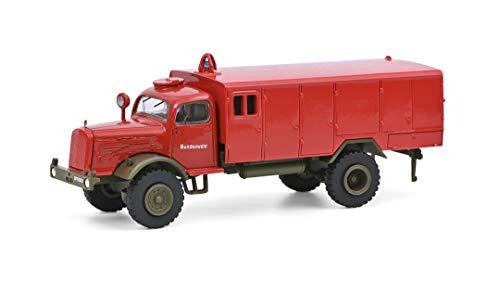 Schuco 452658600 Mercedes Benz LG 315 TLF 2400, Bundeswehr Feuerwehr, Modellauto, Maßstab 1:87, matt rot/Oliv