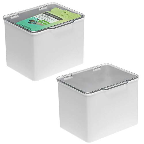 mDesign Stackable Plastic Storage Bin Box with Hinged Lid - Organizer for Vitamins, Supplements, Essential Oils, Medicine Pill Bottles, Bandages, First Aid Supplies, 2 Pack - Light Gray/Clear