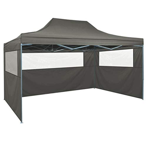 Nyyi Pop-Up Party Tent Garden Gazebos, Party Tent 3x4m Garden Gazebo Marquee Tent with 3 Side Panels, Fully Waterproof, Powder Coated Steel Frame for Outdoor Wedding Garden Party, Anthracite