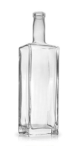 North Mountain Supply – NMS Liberty – 4 Liberty 750ml Rectangular Glass Wine/Spirits Bottle Bar Top Finish – Case of 4